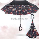 Black outside C handle inverted advertising/promotion/golf umbrella