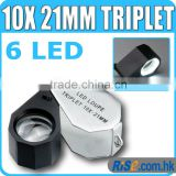 10x Magnification Triplet Lens with 6 Built-in LED Light 21mm Jeweler Loupe