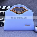 2016 New ladies totes bag lip shaped handle colorful pu leather handbag