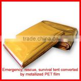 Gold silver color polyester survival tent/blanket