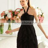Latest Designer Sexy Halter Black Chiffon Flower Short Cocktail Dress Party Dress 2013 POE-065