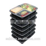 3-compartment microwave safe stackable meal prep plastic food container BPA free and FDA approval feature