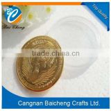 promotional gold coin with competitive price and nice quality as the transparent packaging boxes for best festival gifts for you