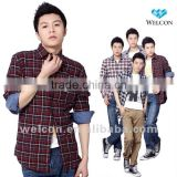 Western style new brand design 100% cotton city leisure long sleeve carbon peaching casual plaid fashion men flannel shirts