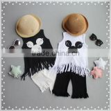 Factory Price Two Colors Cute Cartoon Design Breathable Girls Vest with Fringe Lace