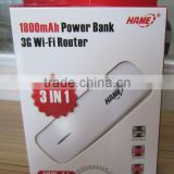 HAME MPR- A1150Mbps Power Bank 3G WiFi Router,3G Router Built-in1800mAh Lithium Battery portable power bank 3g wifi router