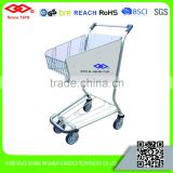 Stainless steel 4 wheels airport shopping cart without brake
