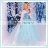 2015 NEW spring and summer hot sale elsa anna cute girls party dress snow romance princess with the Sequins Snow Queen dress