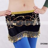 Egyptian sequin embroid belly dance hip scarf belly dance coins scarf belly dance hip belt