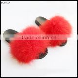 Pretty Nice Style Long Pile Women Ostrich Fur Slippers For Spring Summer
