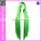 2016 Green Long Straight Streak Hair Color Wig