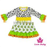2017 New Design Spring Clothes Ruffle Long Bell Sleeve Frock Design Baby Girl Puffy Dress