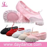 Wholesale High Quality Girls Ladies Women Suede Sole Dance Shoes Canvas Cotton Ballet Flat Black White Red Pink Beige