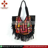 Leather Fringe Hand Bag Vintage Banjara Handbag Gypsy Banjara Bag