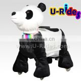Plush Panda carousel ride animal car ride For Amusement park