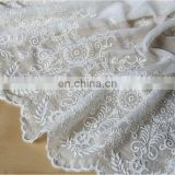 Ivory chiffon embroidered fabric