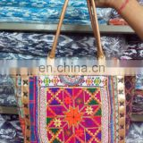 Buy traditional Embroidery Banjara Gypsy Bags with Leather handle at Cheap Prices