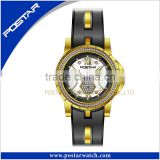 Promotional Stainless Steel Genuine Leather Brand Watches With 5 ATM Water Resistant For Gift