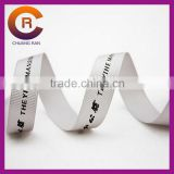2015 white custom made cheap thread emboss printed paw print ribbon