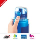 350ml school boy foldable traveling water bottle, convenient one-touch lid thermos bottle, LFGB food grade
