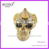 FASHION GOLD PLATED SKULL CORNER RING,NEW DESIGN CHINA WHOLESALE GOLD SKULL RING FRG1045