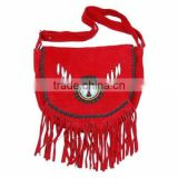 2015 Western stylish Real-Handmade-Western-Style-Suede-Leather-Beaded-Ladies-Shoulder-Bag-Fringed Chocolate Red colors