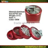 Wholesale aluminium metal 4 parts grinders smoking cigarette spiece herb grinder aluminum grinder