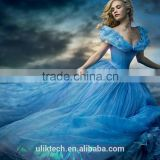 hot sale high quality princess cinderella dresses for kids blue drss cosplay costume