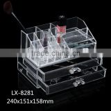 2016 longshixiang Newest fahional PS wholesale makeup organizer transparent two drawers jewel case