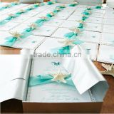 Hot sale beach white wedding invitations with blue ribbons & starfish                                                                         Quality Choice