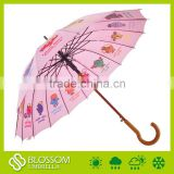 Wooden shaft cute small cartoon printed for kids polyester outdoor sun child umbrella                                                                         Quality Choice