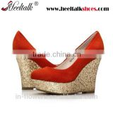 OEM Wholesale China manufacturer suede material red ladies wedge platform shoes women wedge heels