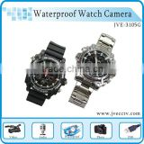 JVE-3105G brand new leather band popular watch camera built-in lens,waterproof , night vision ,lithium battery