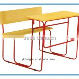 Morden children double desk and chairs / bench chair combination school furniture-TF8511