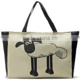 Large Canvas Shopping Bags with Sheep Pattern Handle Bags Reusable Portable Shoulder Bag