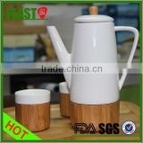 Modern design ceramic Elegant Teapot Sets with bamboo base