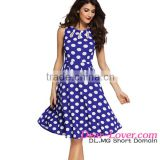 Classic Wholesale Blue Polka Dot Bohemain Print Latest Office Dress With Keyholes