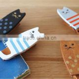 Contracted high-quality cartoon solid timber wood cat multi-function receive clip seal clothes pin PN6366