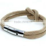 wholesale 2014 fashion stainless steel bracelets cotton knot rope bracelet nautical jewelry