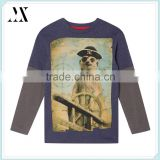 Boy's navy pirate meerkat printed top kids long sleeve two layer sleeve design t-shirt