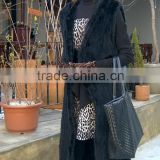 Wholesale Price New long black Real Mink Fur Knit Girls Fur Vest with mink fur hood