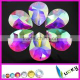 2016New sew on teardrop shape crystal ab color 30*40mm flatback large strass facets rhinestones with/without holes glue on