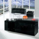 Modern high quality beauty white black glass reception desk with best price office furniture PT-P001