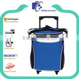 Nylon shoulder rolling cooler bag for lunch carry storage with wheels