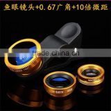 China Supplier 180 Fisheye+Wide Angle+Macro Lens Photo Camera Kit Set 3 in1 Smartphones mini camera fisheye lens For Cellphone