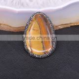 Natural Tiger Eye Gemstone Druzy Pendants, Crystal rhinestone paved Slab Stone Pendant