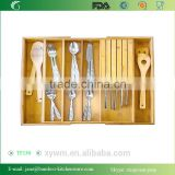 TF130 Expandable Bamboo Utensil Organizer with Knife Block for Cutlery, Flatware, Silverware and Accessories