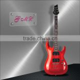 Red electric guitar with big bridge hollow body