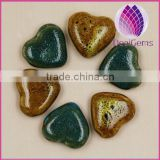 2015 whole sale artificial for DIY jewelry making Bead porcelain blue 26X28mm heart shape 50pcs per bag