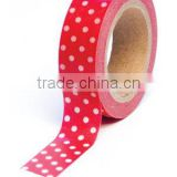 Wholesale YIWU FACTORY adhesive masking tape Washi Tape 15mm x 10m Washi Tape Trendy Tape Red Polka Dot Decorative Paper Tape